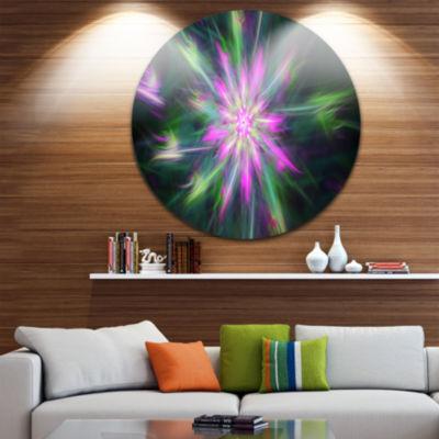 Designart Green Fractal Shining Bright Star Abstract Round Circle Metal Wall Art