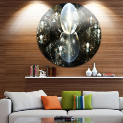 Designart Golden Water Drops on Mirror Abstract Round Circle Metal Wall Art