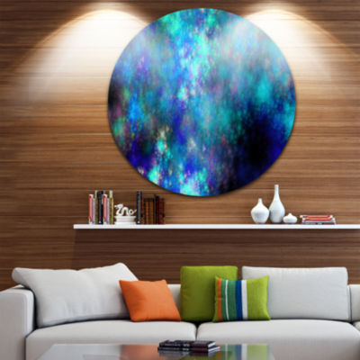 Designart Light Blue Starry Fractal Sky Contemporary Round Circle Metal Wall Art