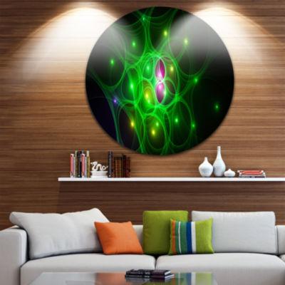 Designart Green Fractal Space Circles Abstract Round Circle Metal Wall Art