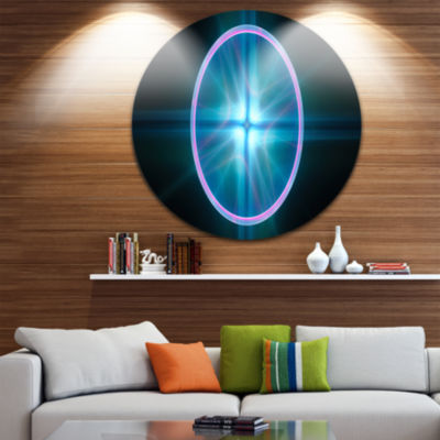 Designart Blue Sphere of Cosmic Mind Abstract Round Circle Metal Wall Art