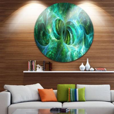Designart Blue Fractal Ornamental Glass Abstract Round Circle Metal Wall Art