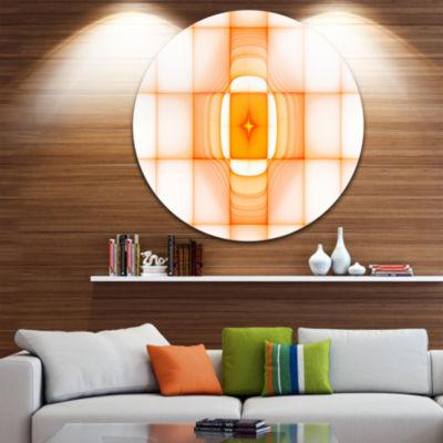 Designart Yellow Thermal Infrared Visor Abstract Round Circle Metal Wall Art