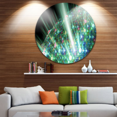 Designart Bright Blue Solar Bubbles Planet Abstract Round Circle Metal Wall Art