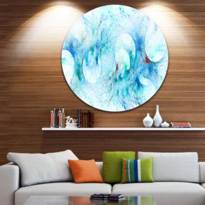Designart Blue White Fractal Glass Texture Abstract Round Circle Metal Wall Art