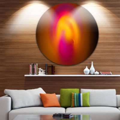 Designart Yellow Pink Misty Sphere on Black Abstract Round Circle Metal Wall Art