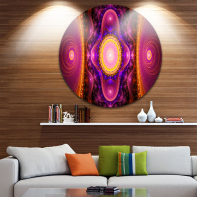 Designart Pink Cryptical Fractal Design Abstract Round Circle Metal Wall Art Panel