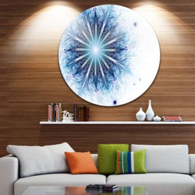 Designart Fractal Flower Light Blue Digital Art Large Flower Metal Circle Wall Art