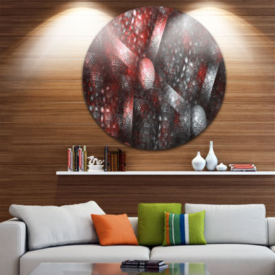 Designart Crystal Cell Red Steel Texture AbstractRound Circle Metal Wall Art