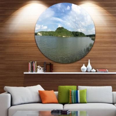 Designart Wide Lake Trees Sky Landscape LandscapeMetal Circle Wall Art
