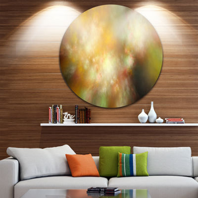 Designart Perfect Yellow Green Starry Sky AbstractRound Circle Metal Wall Art