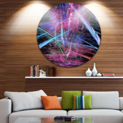 Designart Pink Blue Magical Fractal Pattern Abstract Round Circle Metal Wall Art