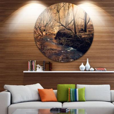 Designart Brown Creek in National Park Forest Metal Circle Wall Art
