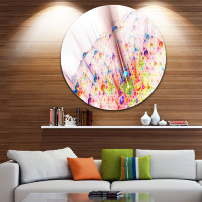 Designart Red Blue Solar Bubbles Planet Abstract Round Circle Metal Wall Art
