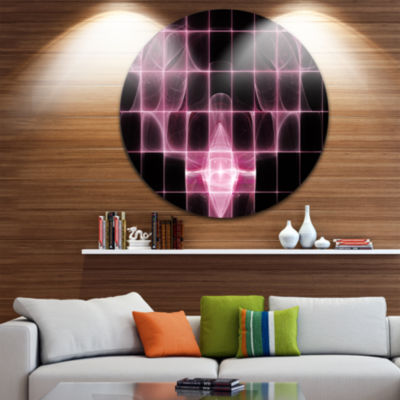 Designart Pink Bat Outline on Radar Abstract RoundCircle Metal Wall Art