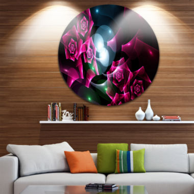 Designart Pink Bouquet of Beautiful Roses AbstractRound Circle Metal Wall Art