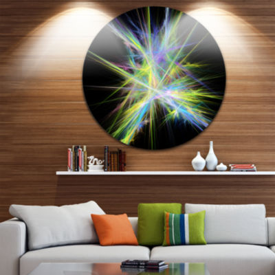 Designart Yellow Blue Chaos Multicolored Rays Abstract Round Circle Metal Wall Art