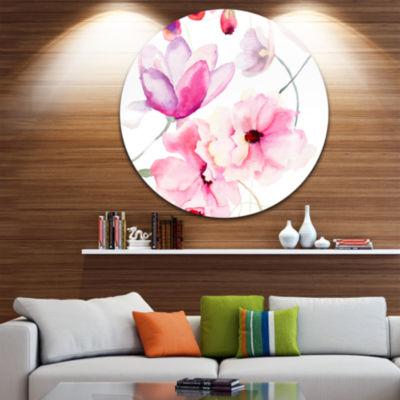 Designart Seamless Pattern of Pink Flowers Large Flower Metal Circle Wall Art