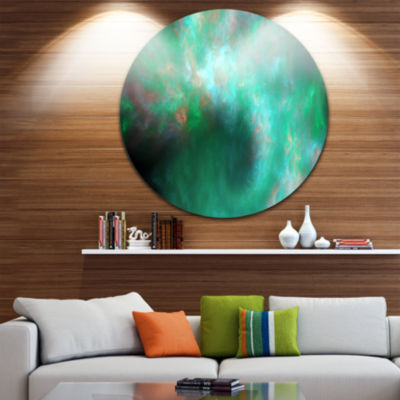 Designart Perfect Clear Blue Starry Sky Abstract Round Circle Metal Wall Art