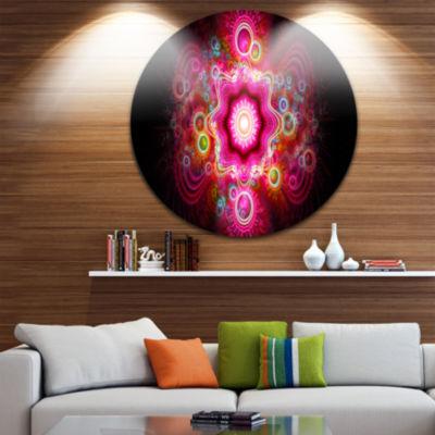 Designart Bright Pink Fractal Flower Abstract Round Circle Metal Wall Art Panel