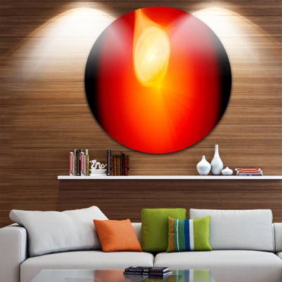 Designart Glowing Red Misty Sphere Abstract RoundCircle Metal Wall Art