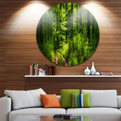 Designart Fascinating Greenery in Wild Forest Forest Metal Circle Wall Art
