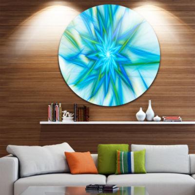 Designart Blue Fractal Shining Bright Star Abstract Round Circle Metal Wall Art