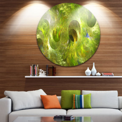 Designart Golden Fractal Ornamental Glass AbstractRound Circle Metal Wall Art