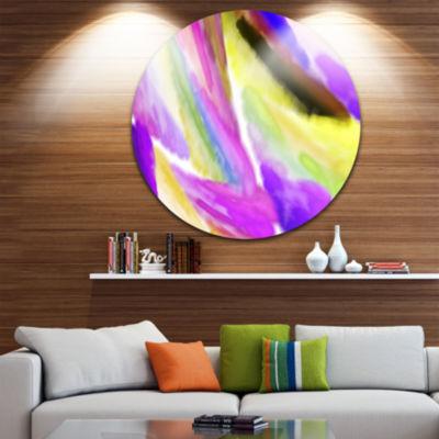 Designart Purple Vibrant Brushstrokes Abstract Round Circle Metal Wall Art
