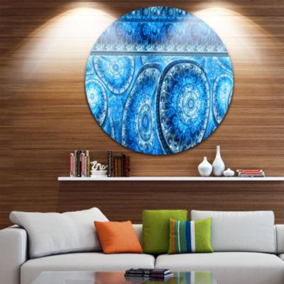 Designart Blue Living Cells Fractal Design Abstract Round Circle Metal Wall Art