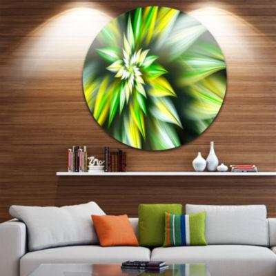 Designart Exotic Green Fractal Spiral Flower Abstract Round Circle Metal Wall Art