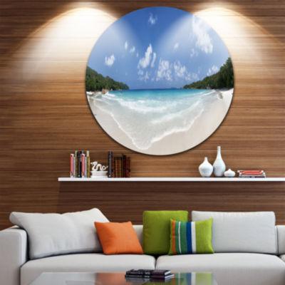 Designart Blue Seychelles Island Panorama Large Seascape Art Metal Circle Wall Art