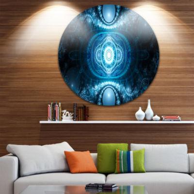 Designart Cabalistic Light Blue Pattern Abstract Round Circle Metal Wall Art