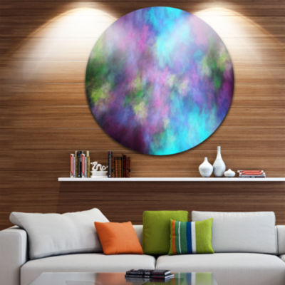 Designart Perfect Blue Purple Starry Sky AbstractRound Circle Metal Wall Art