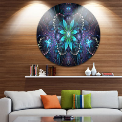 Designart Fractal Flower Blue Digital Art Large Flower Metal Circle Wall Art