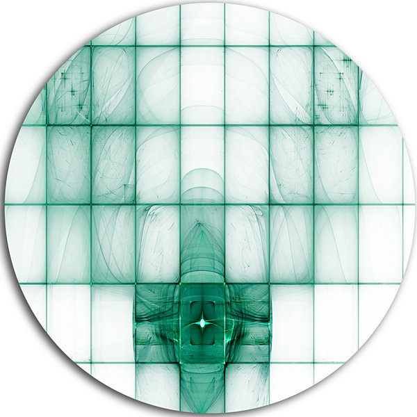 Designart Light Blue Bat on Radar Screen AbstractRound Circle Metal Wall Art