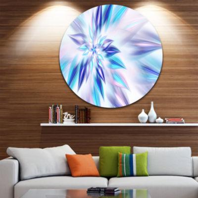 Designart Light Blue Fractal Spiral Flower Abstract Round Circle Metal Wall Art