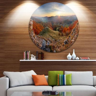 Designart Majestic Sunset in Mountain Landscape Landscape Metal Circle Wall Art