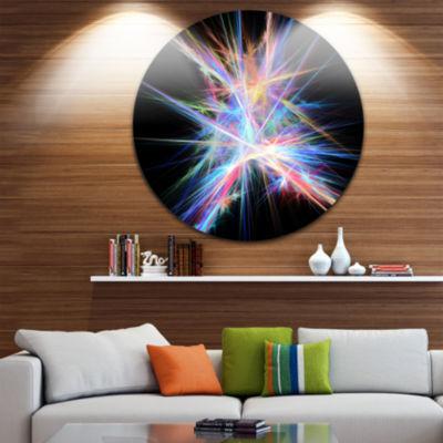 Designart Light Blue Spectrum of Light Abstract Round Circle Metal Wall Art