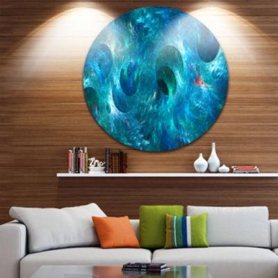 Designart Blue Circles Fractal Texture Abstract Round Circle Metal Wall Art