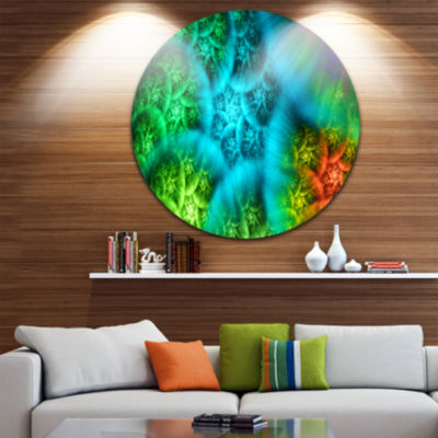 Designart Biblical Sky with Green Clouds AbstractRound Circle Metal Wall Art Panel