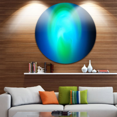 Designart Blue Misty Sphere on Black Abstract Round Circle Metal Wall Art