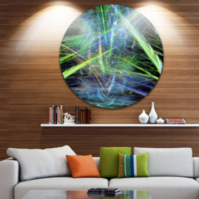 Designart Green Blue Magical Fractal Pattern Abstract Round Circle Metal Wall Art