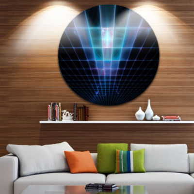 Designart Blue Laser Protective Grids Abstract Round Circle Metal Wall Art