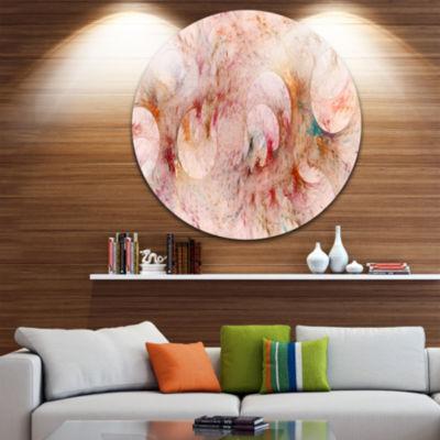 Designart Red Circles Fractal Texture Abstract Round Circle Metal Wall Art