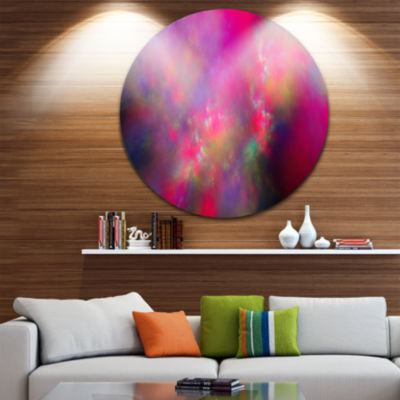 Designart Perfect Red Starry Sky Abstract Round Circle Metal Wall Art