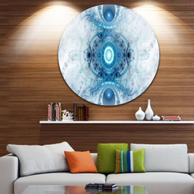 Designart Light Blue Fractal Pattern Abstract Round Circle Metal Wall Art Panel