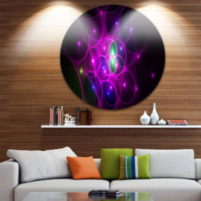 Designart Pink Fractal Space Circles Abstract Round Circle Metal Wall Art
