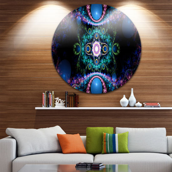 Designart Cabalistic Blue Fractal Pattern AbstractRound Circle Metal Wall Art