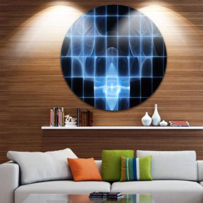 Designart Bright Blue Bat on Radar Screen AbstractRound Circle Metal Wall Art